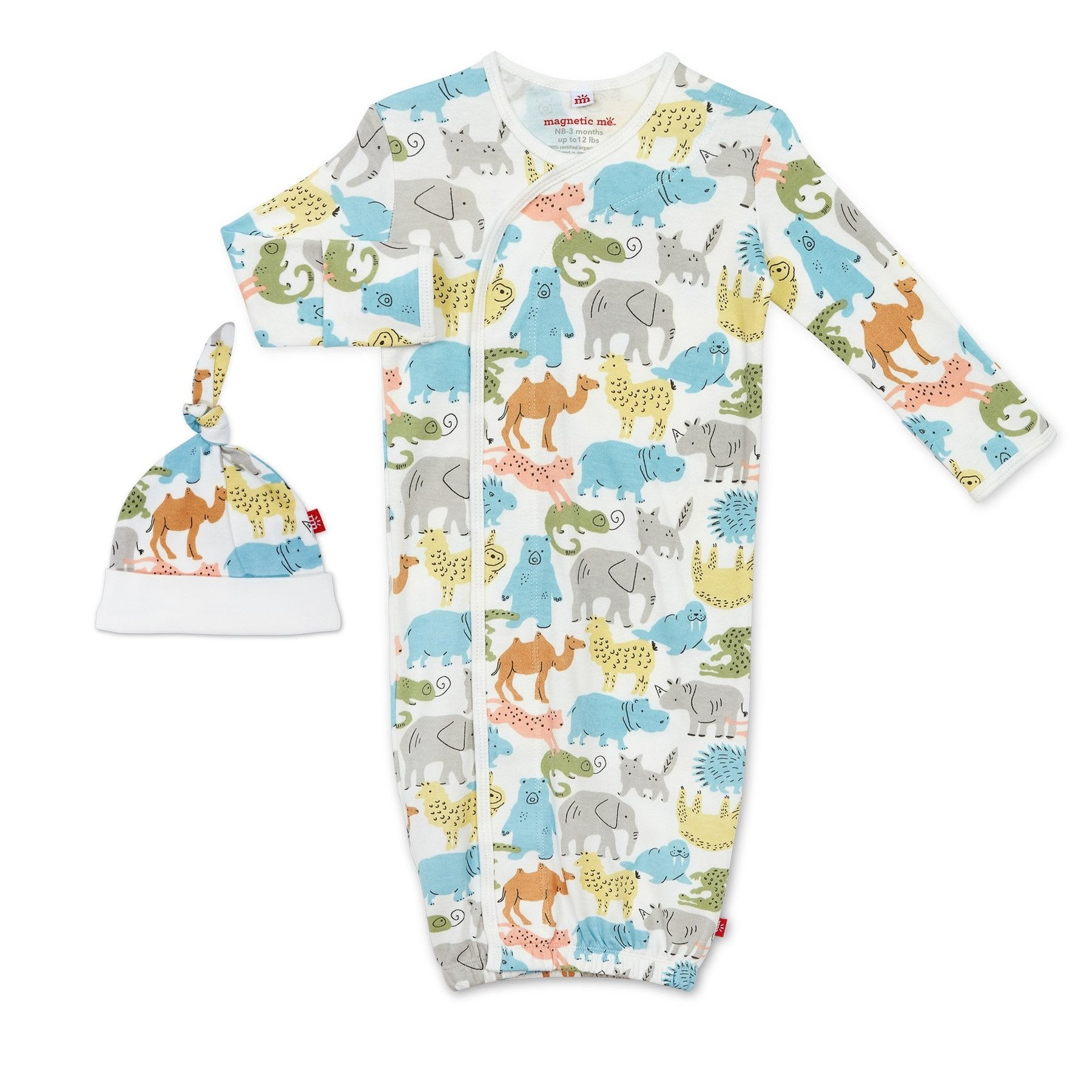 Zoo Crew Organic Cotton Magnetic Gown and Hat Set