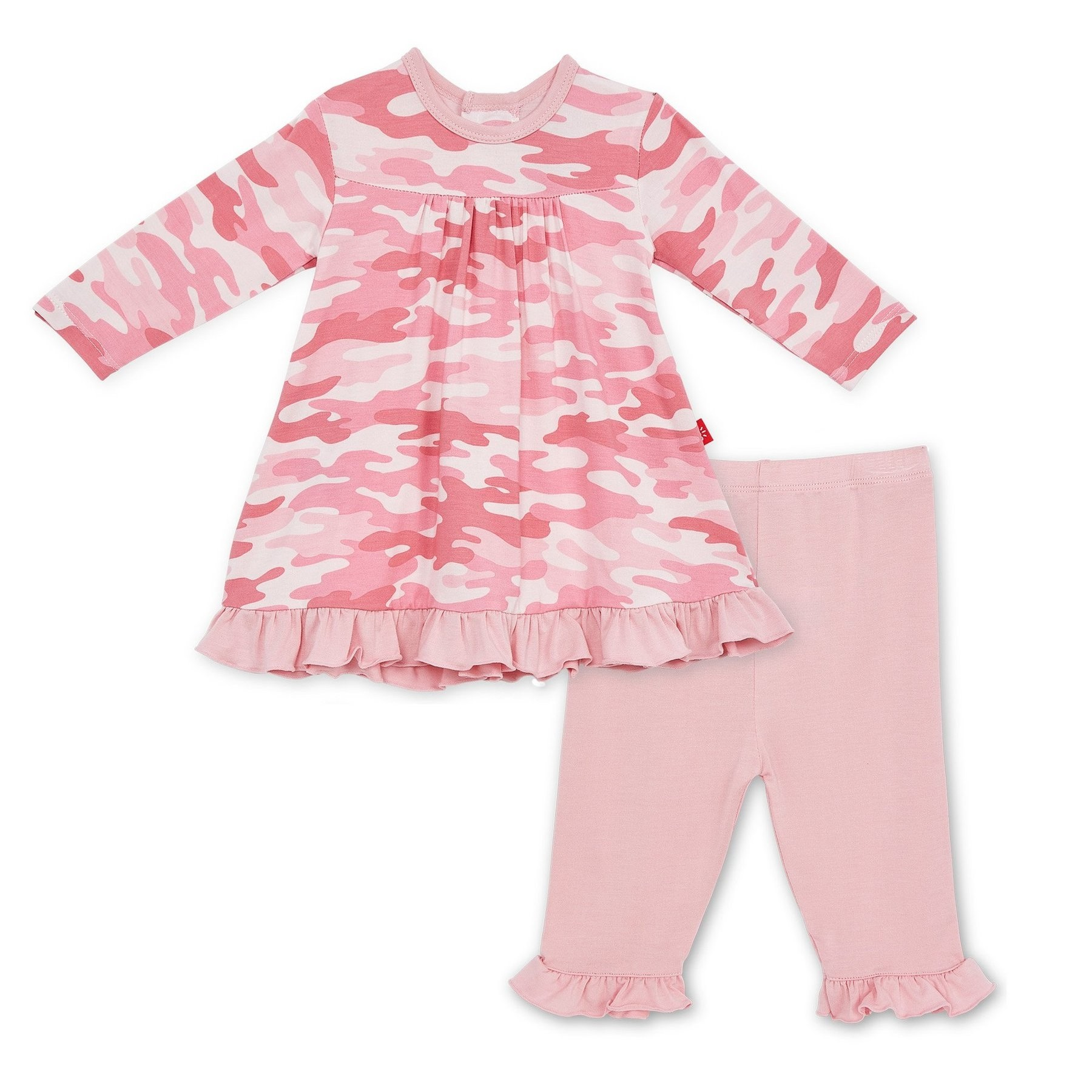 Pink Camo Chic Modal Magnetic Dress Set With Pants