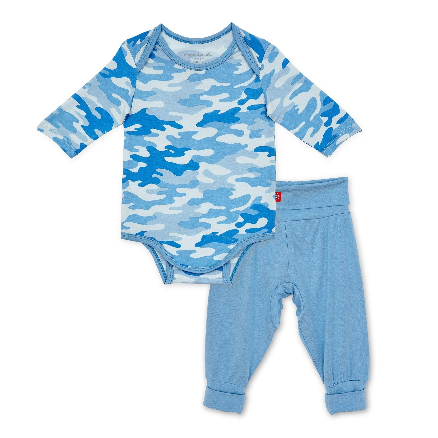 Blue Camo Chic Modal Magnetic Bodysuit and Harem Pant Set