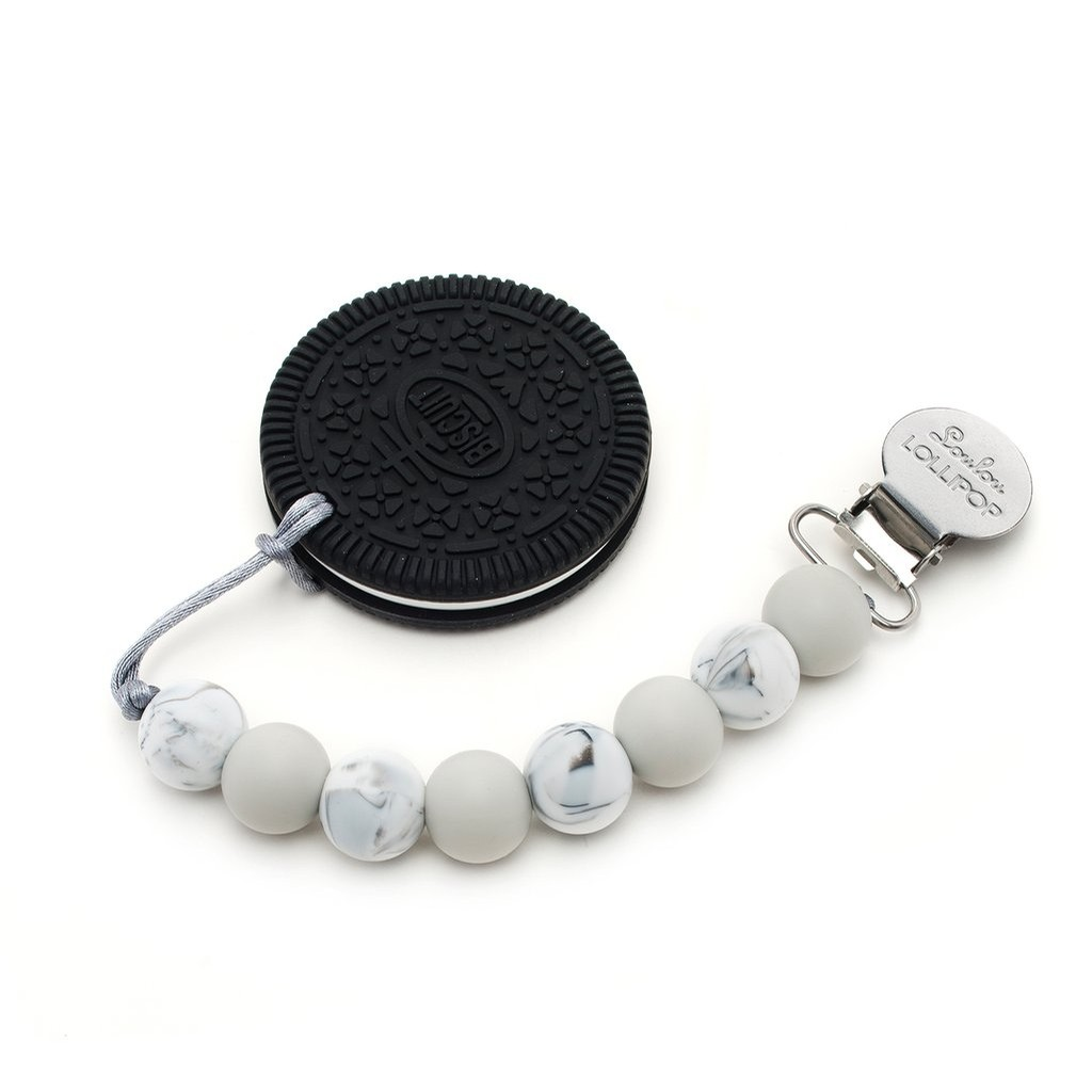 Cookie Silicone Teether Set - Neutral Black