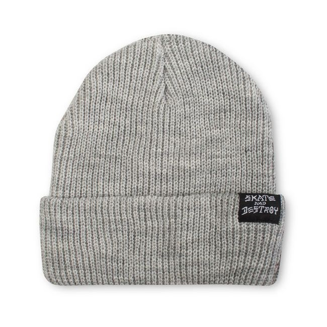 thrasher skate and destroy label beanie (heather)
