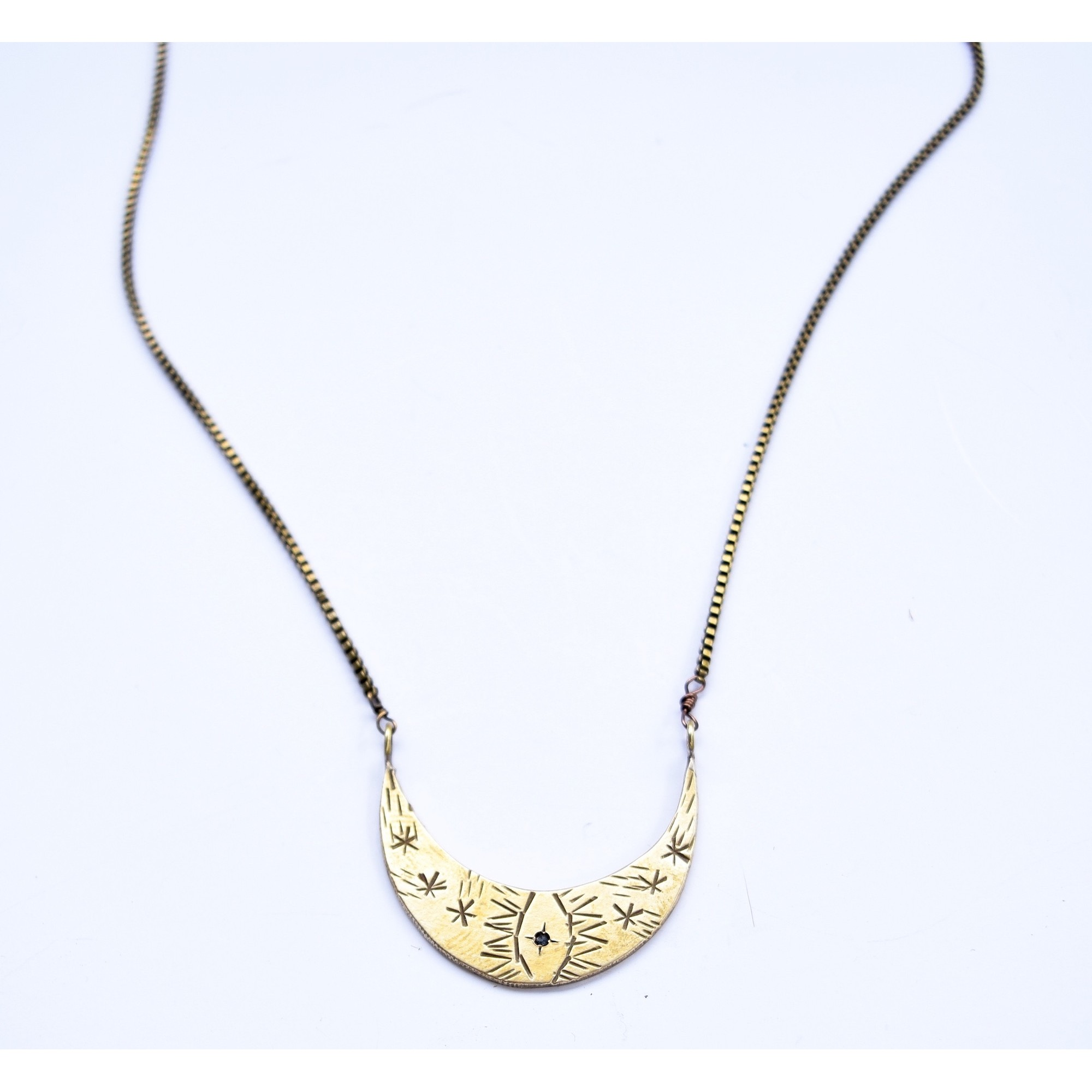 Gemstone Crescent Moon Necklace