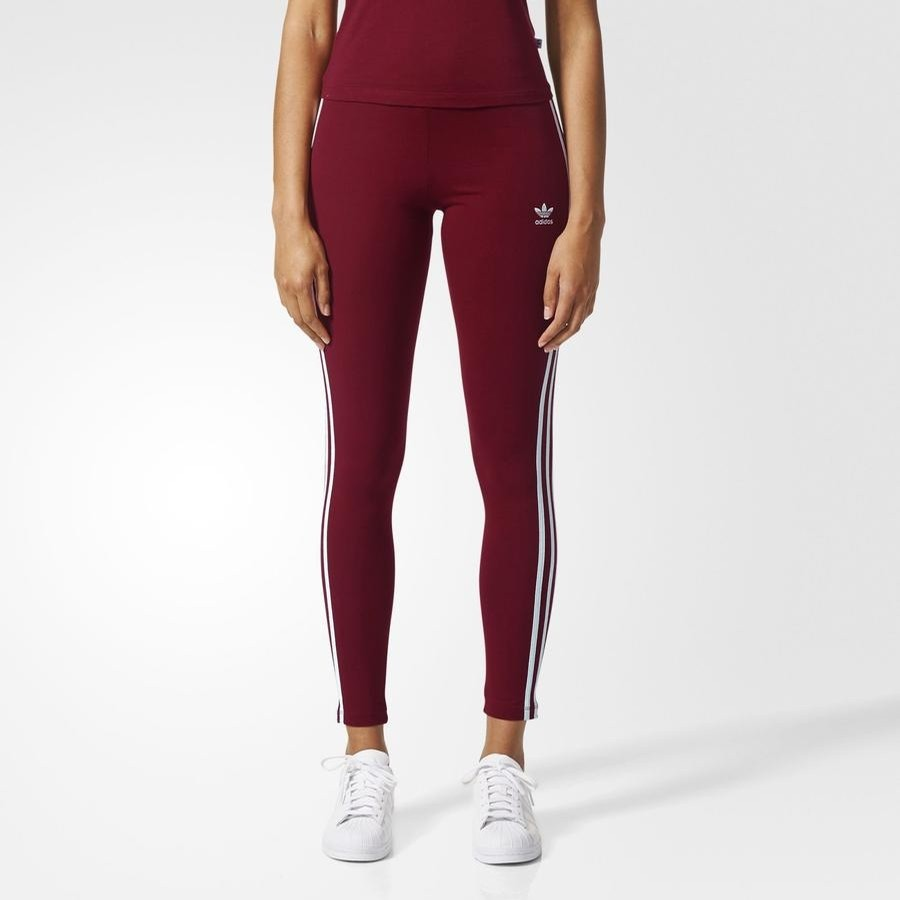 3 Stripe leggings Womens (Burgundy)