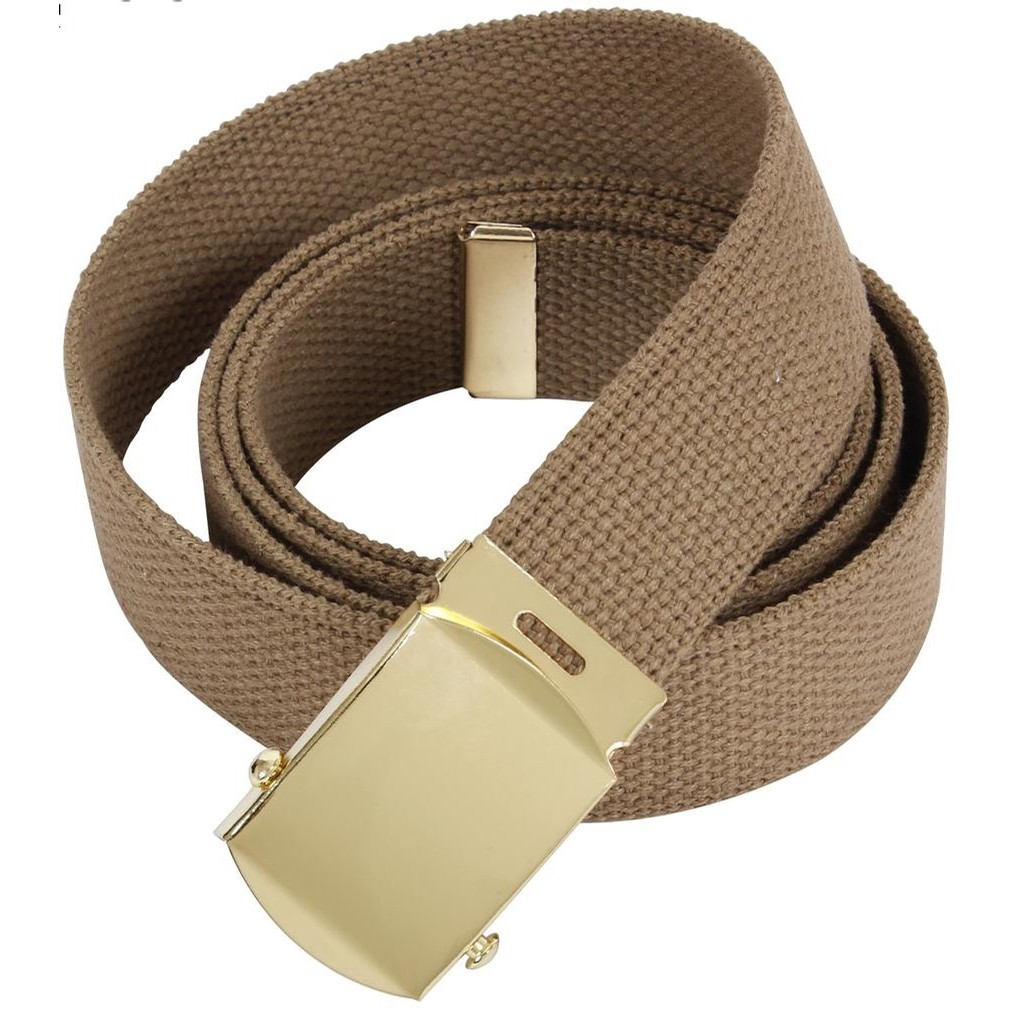 44 Inch Military Web Belt With Gold Buckle (Brown)