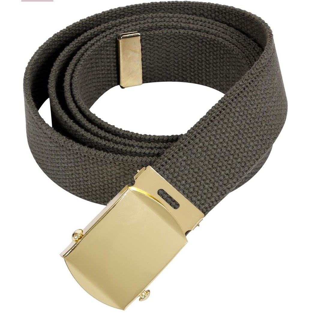 44 Inch Military Web Belt With Gold Buckle (Olive Drab)