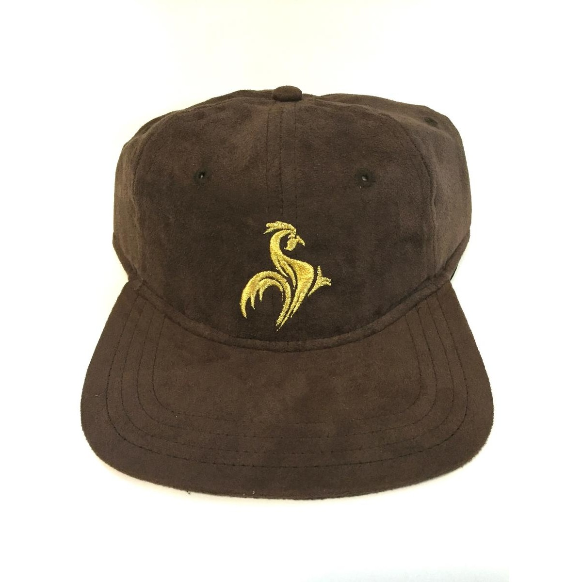 Fighting Hen Six Panel Strap Back Cap (Brown Suede)