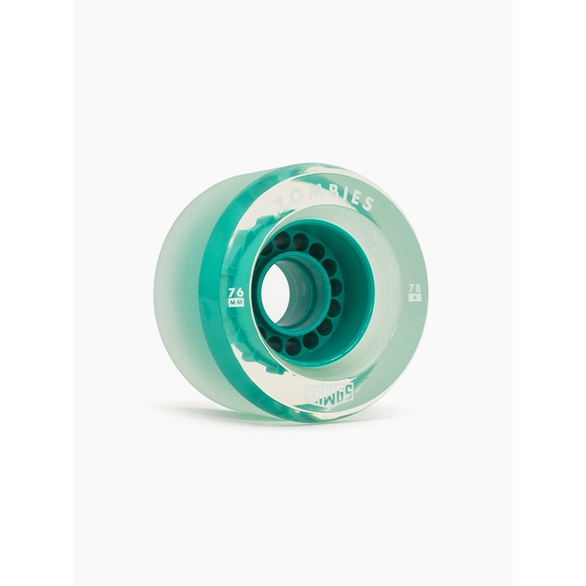 Clear Zombie Hawgs Wheels (Teal Core)