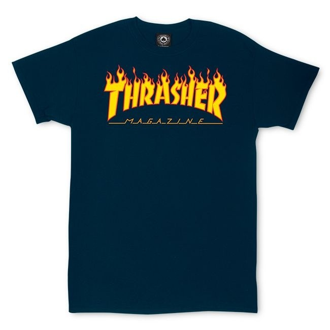 Thrasher Flame S/S - Navy