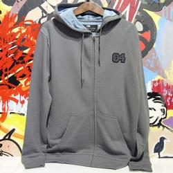 Dent Zip Up Hooded Sweatshirt Pewter (p)