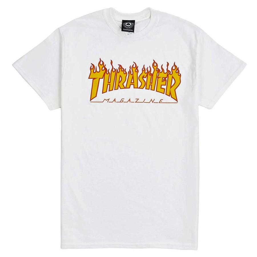 Thrasher Flame Logo T-Shirt (White)