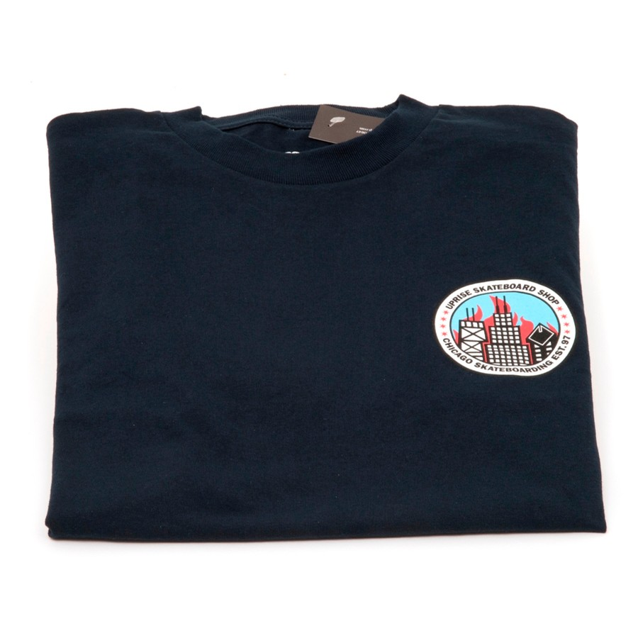 Uprise City Seal Mens T-shirt (Navy / Flame)