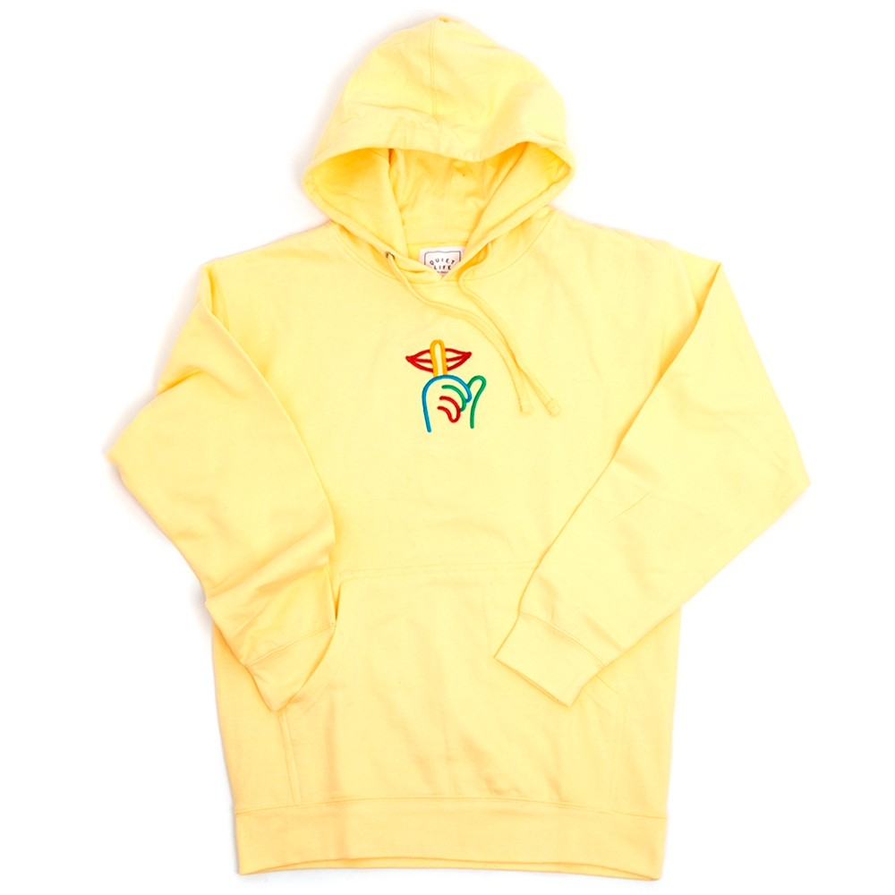 Rainbow Shhh Hooded Sweatshirt (Light Yellow)