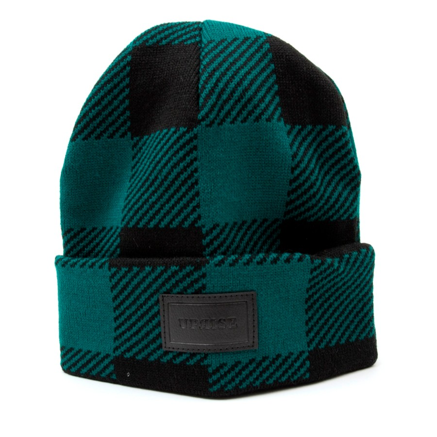 Uprise Embossed Leather Stamp Beanie (Buffalo Plaid) Green Black ... 7041d0d0fc9
