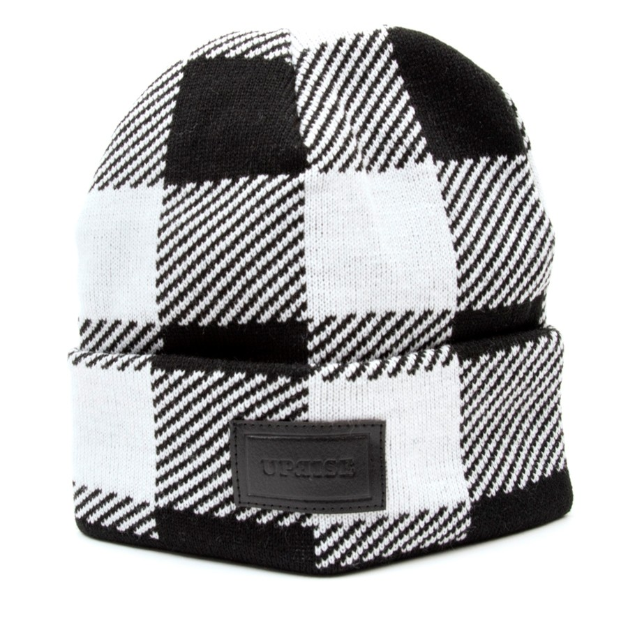 Embossed Leather Stamp Beanie (Buffalo Plaid) White/Black