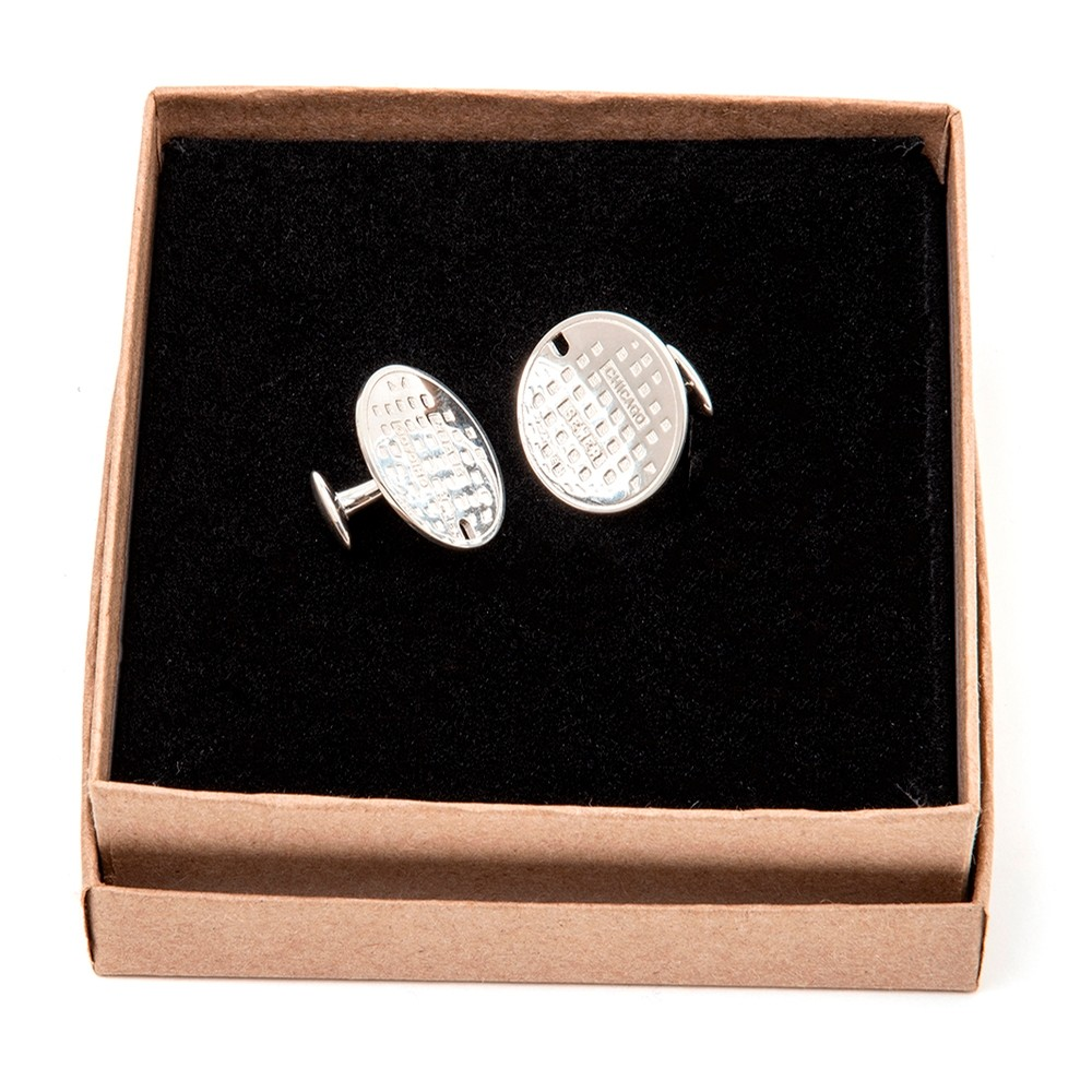 Chicago Sewer Cap Cuff Links by Mike Ruta (Sterling Silver)