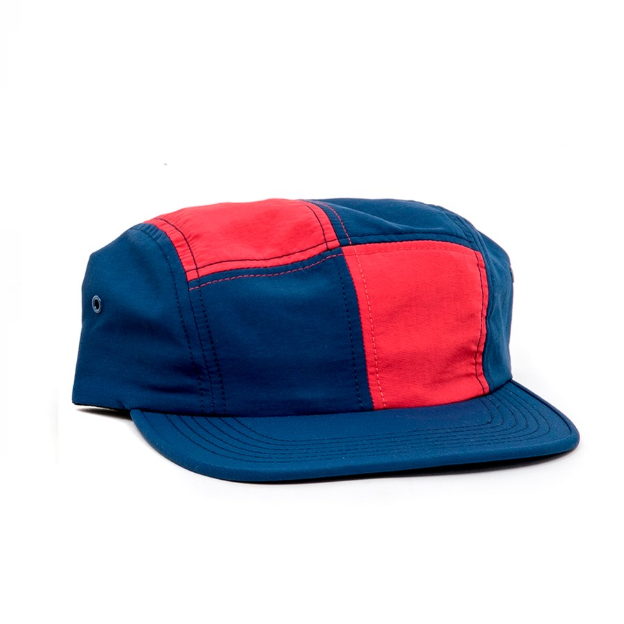 Patchwork Camp Cap (Dark Navy / Red)
