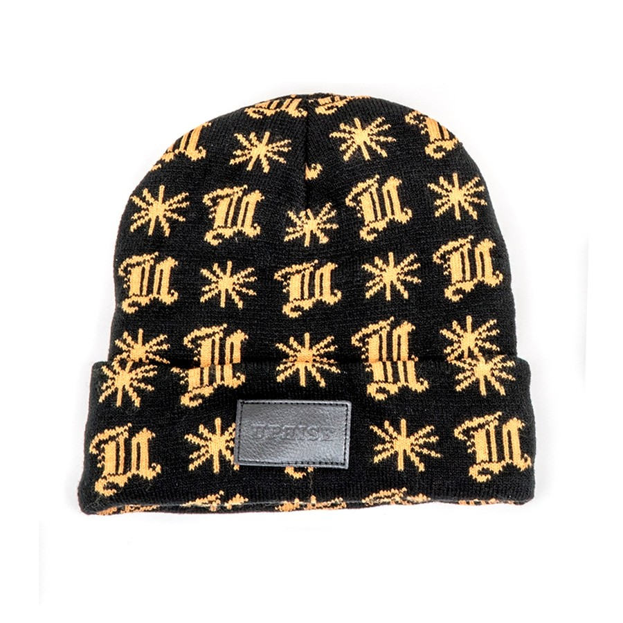 Blackletter Pattern Leather Stamp Beanie (Black / Gold)