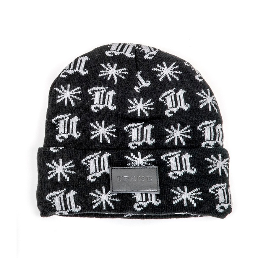 Blackletter Pattern Leather Stamp Beanie (Black / Grey)