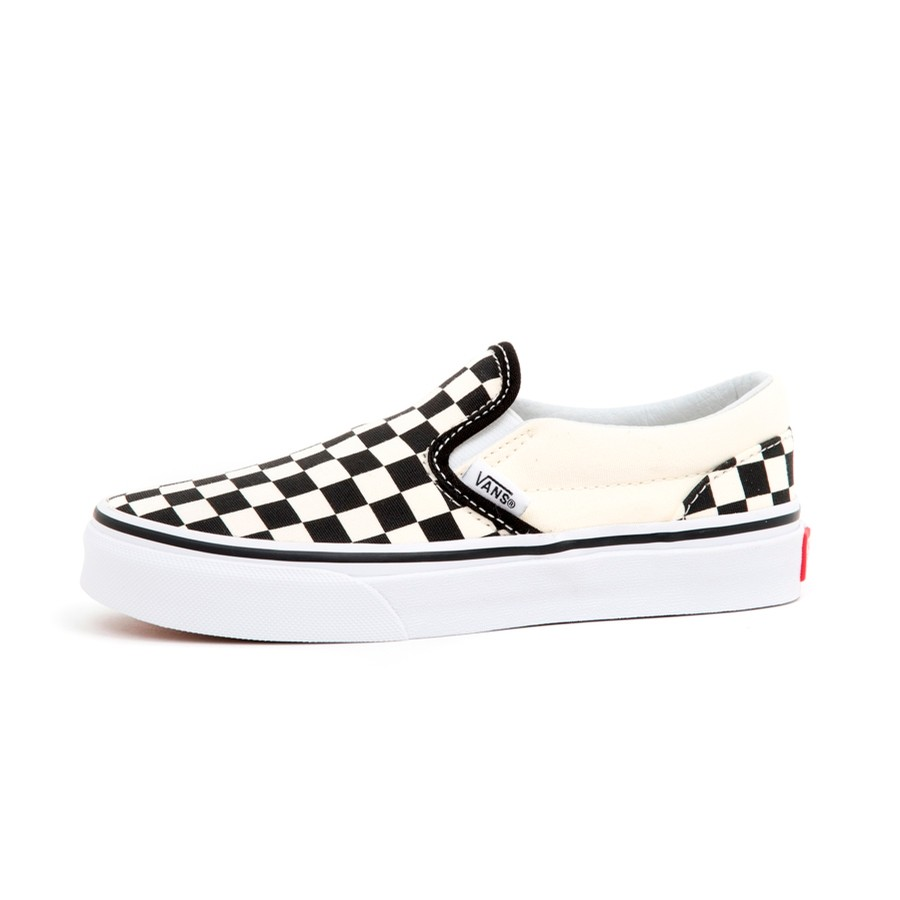 Kids Classic Slip-On (CheckerBoard) Black / White VBU (S)