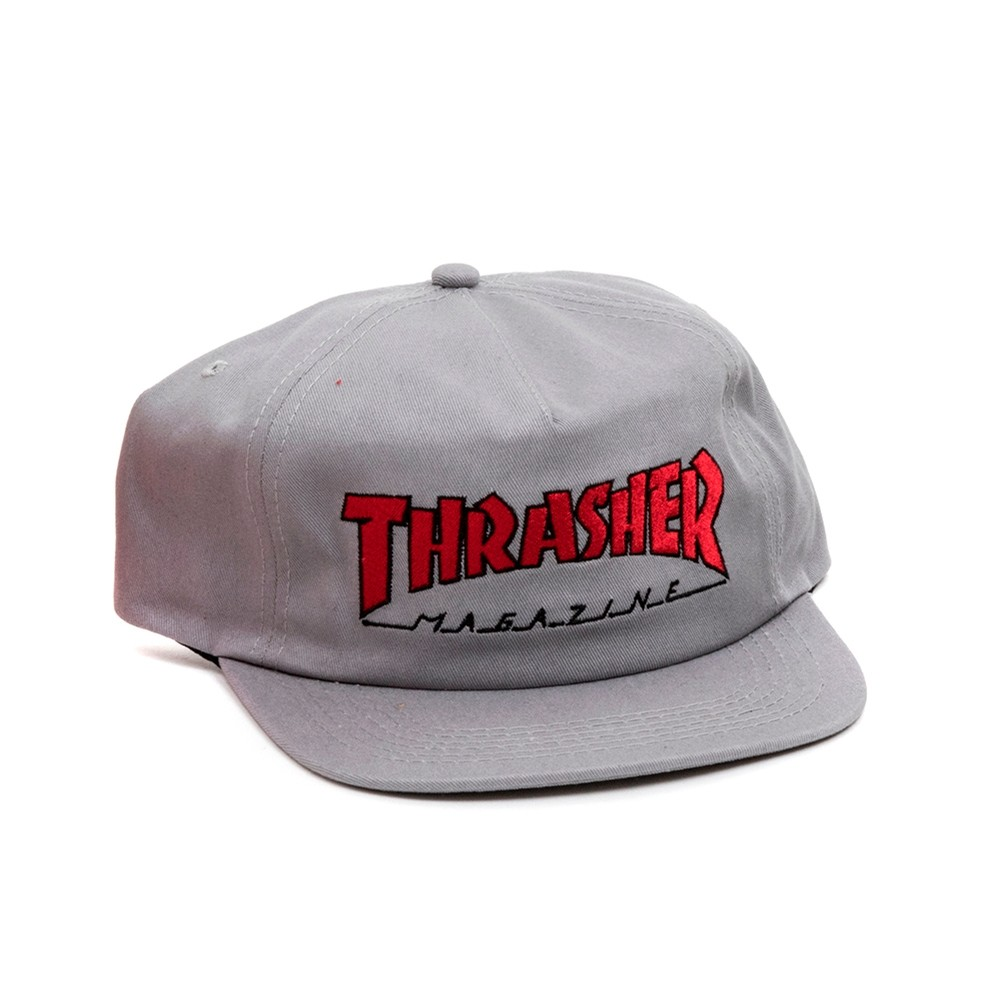 Outlined Snapback (Gray / Red)