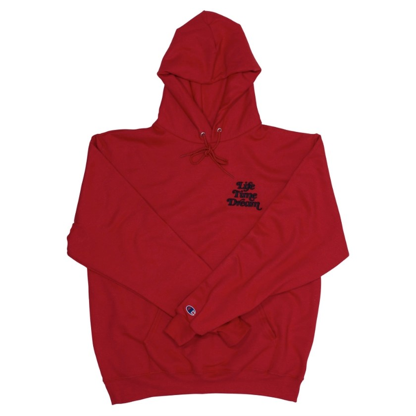 Life Time Dream Embroidered Hoody Stacked Logo (Red / Black) (P)