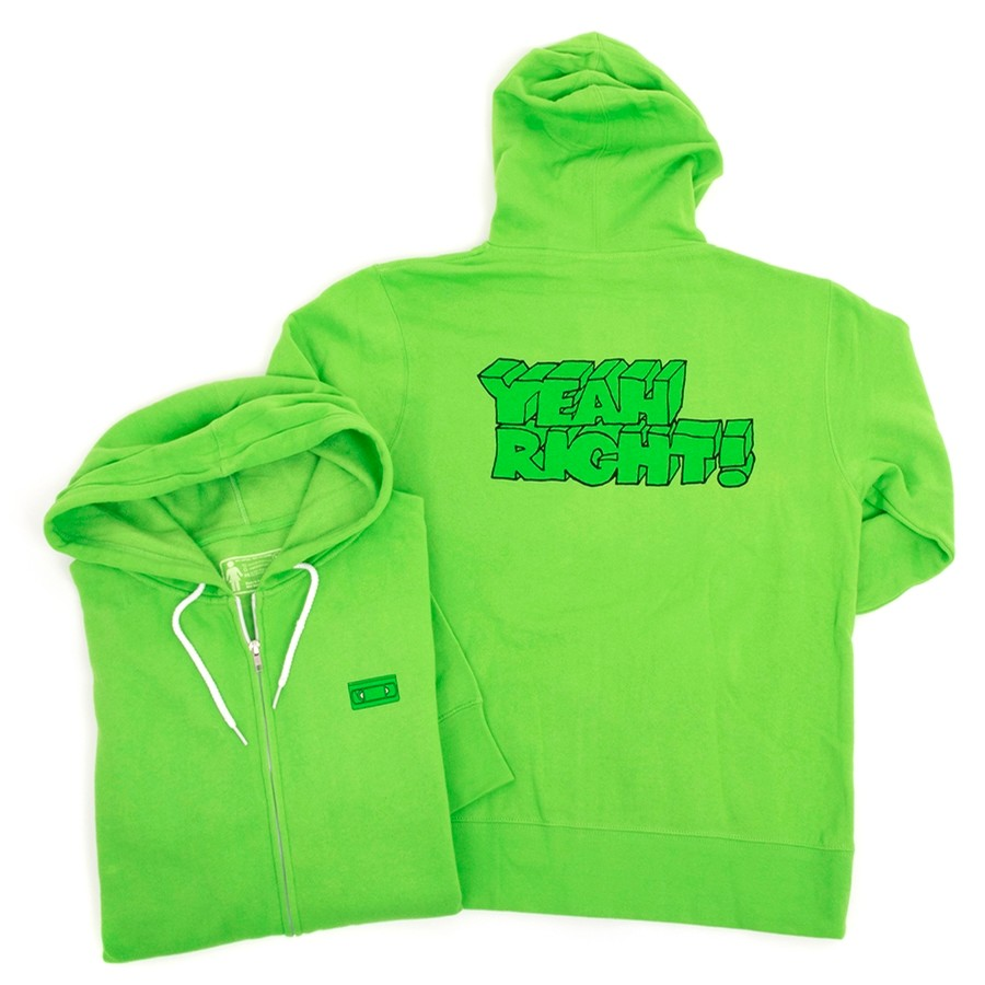 Yeah Right Zip Up Hooded Sweatshirt (Lime Green) (P)