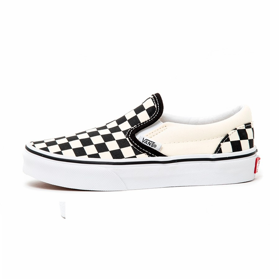 Kids Classic Slip-On (CheckerBoard) Black / White VBU