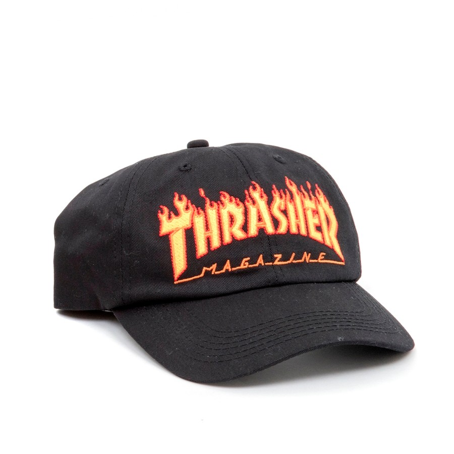 Thrasher Flame Old Timer Hat (Black) Hats Snapbacks and ... 34478b1a6c2
