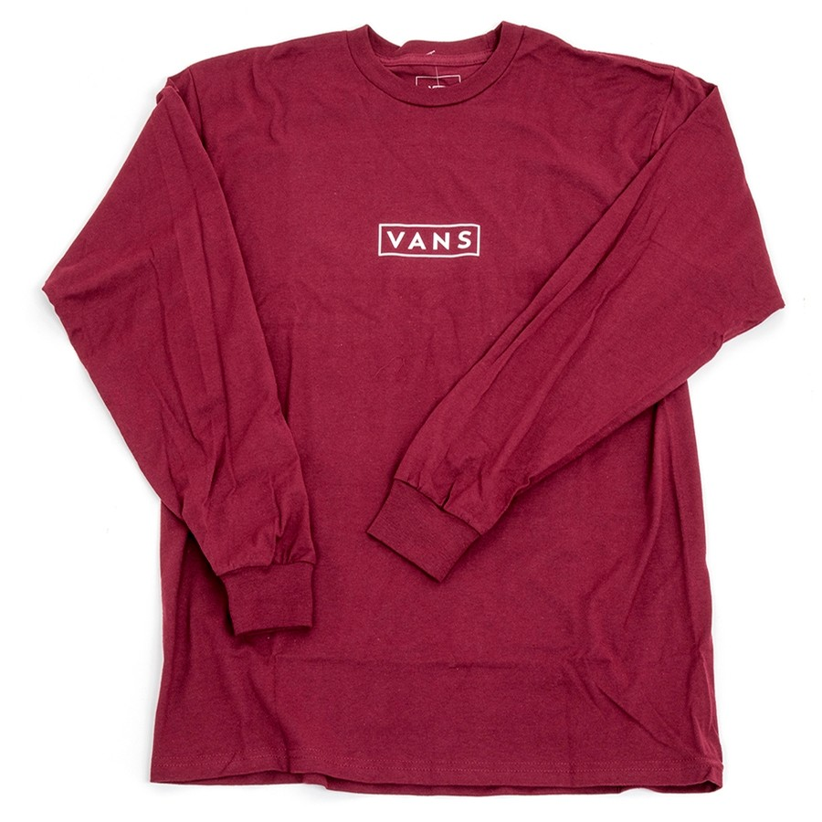 Vans Easy Box L/S T-Shirt (Burgundy / White) VBU_P