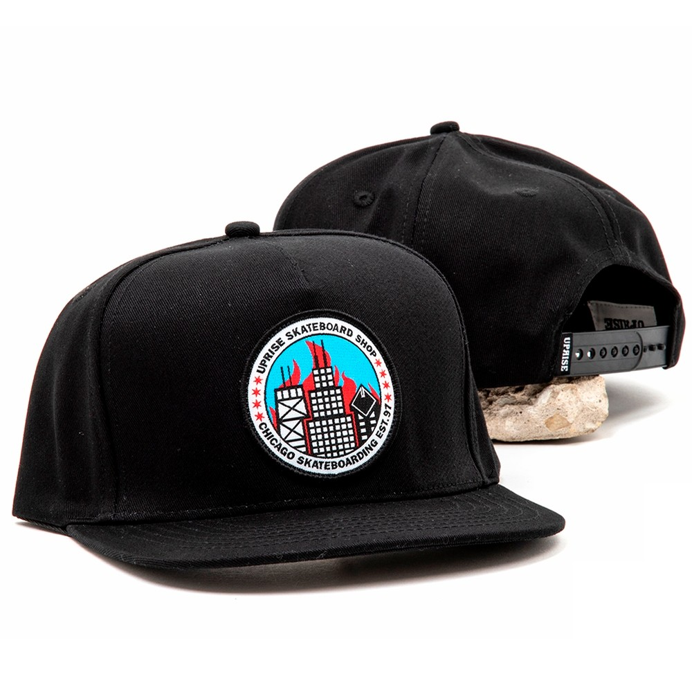 City Seal Snapback (Black / Flames)