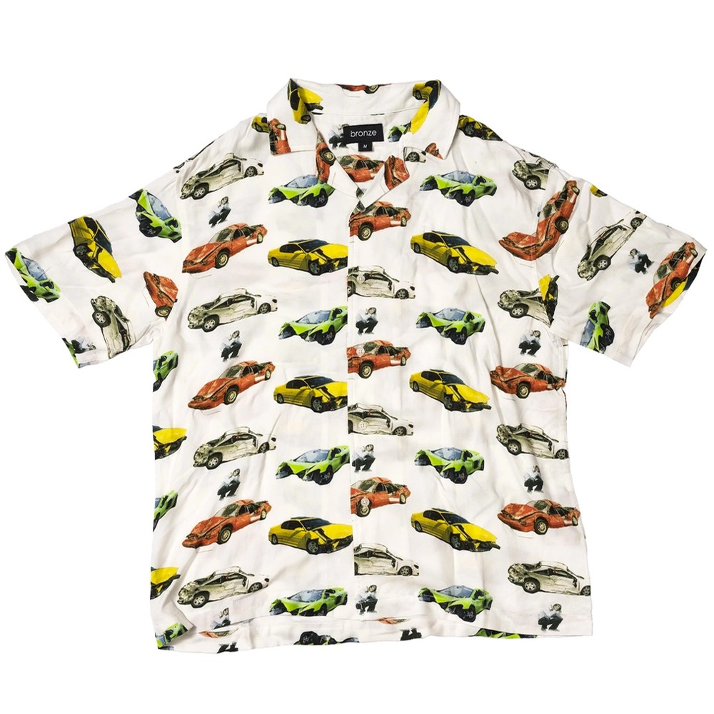 Wrecked Cars Button Up Shirt (Oyster White)