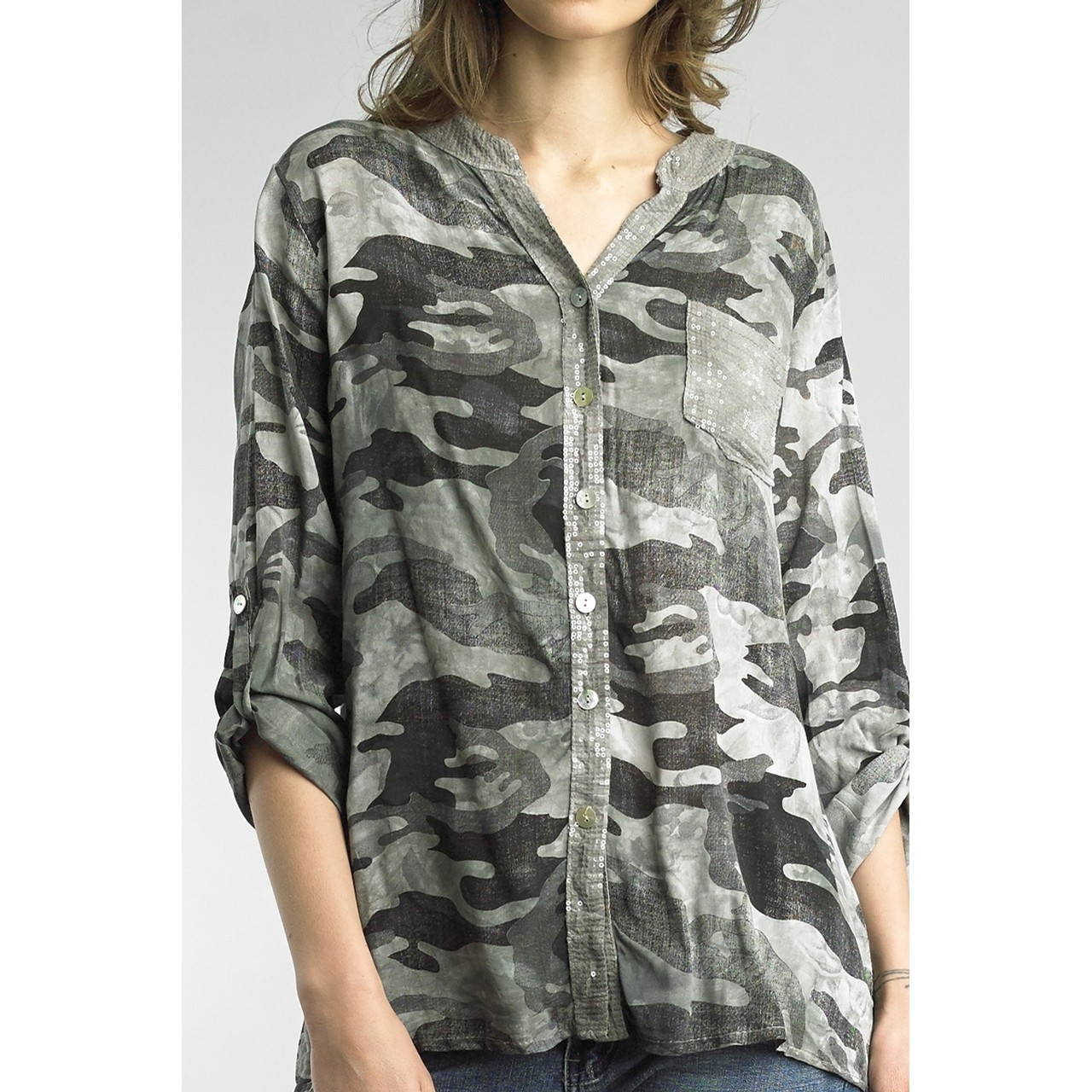 Camo Button Down Top