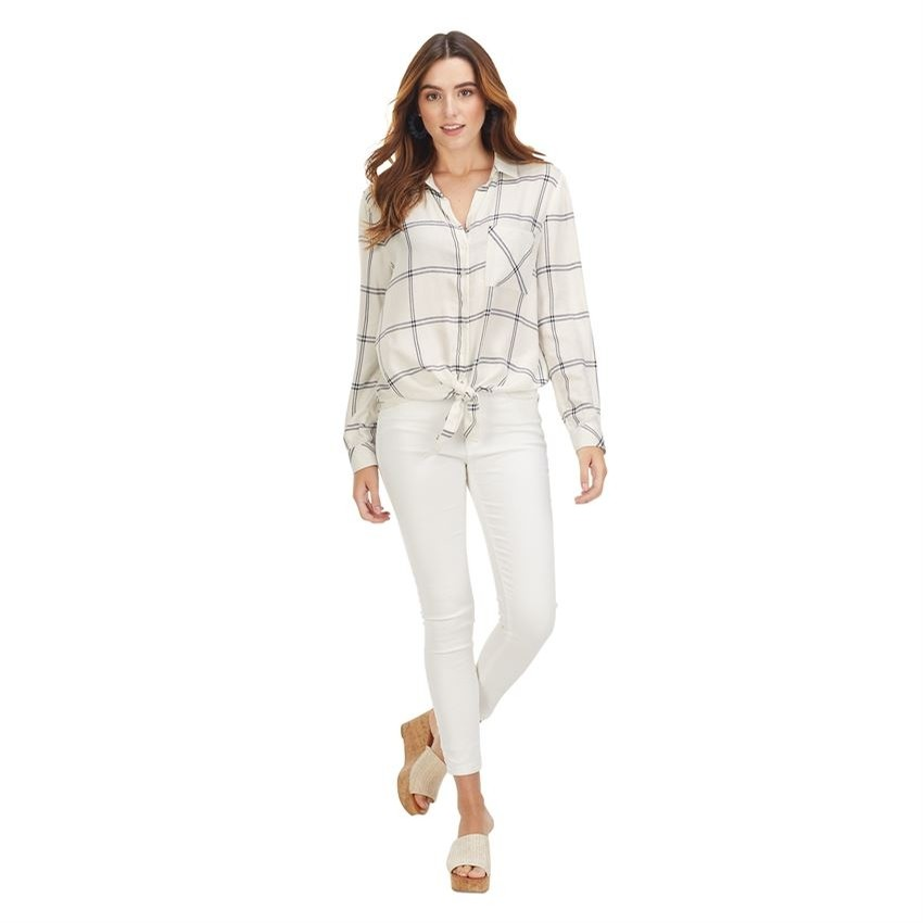 Jaqx Button Down White Plaid