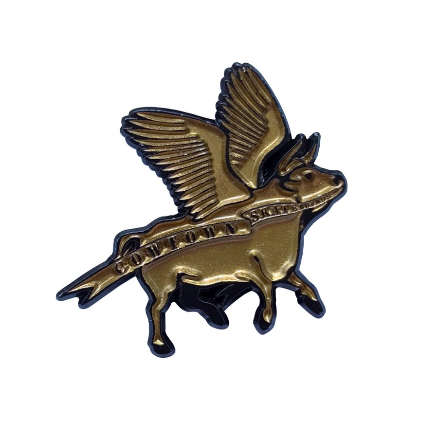 Cowtown Flying Cow Enamel Pin (Gold/Black)