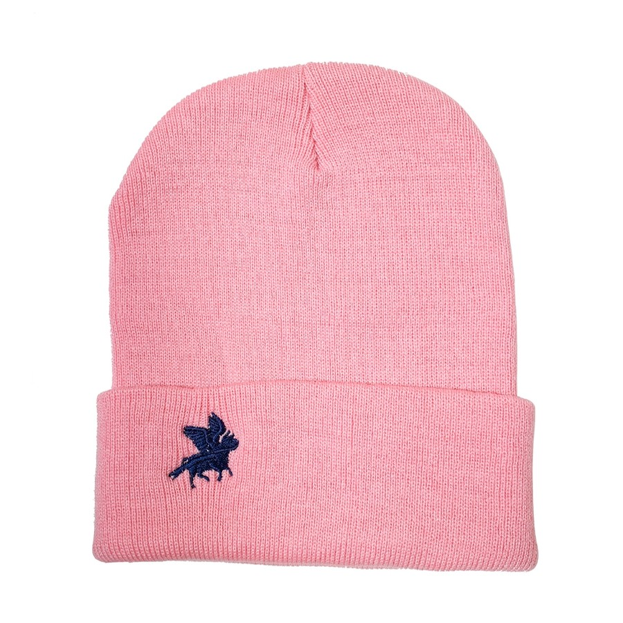 Cowtown Embroidered Flying Cow Beanie (Pink/Navy)