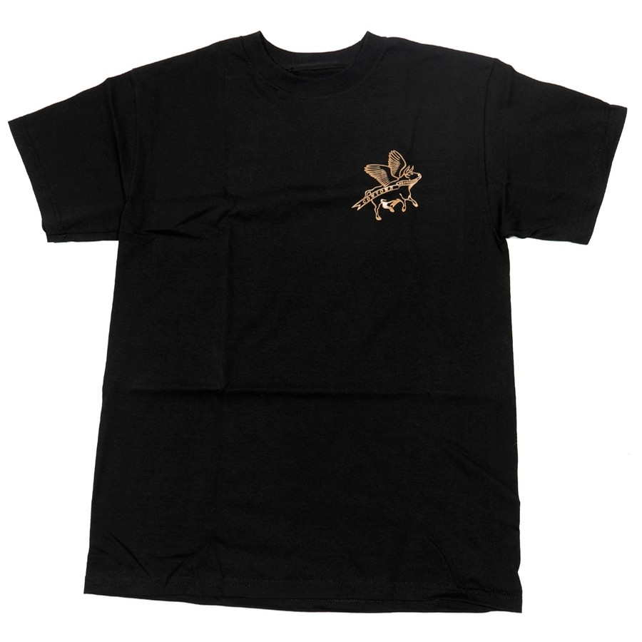Cowtown Flying Cow Outline Tee (Black/Gold)