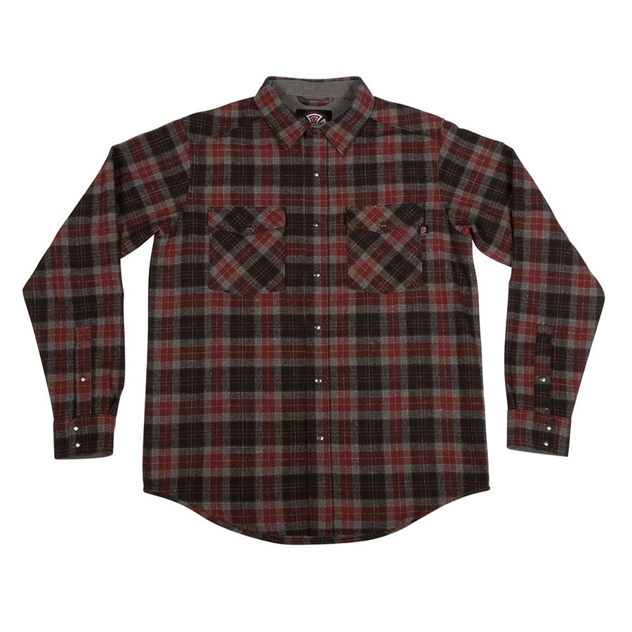 Independent Mill L/S Button Up Top (Burgundy Plaid)