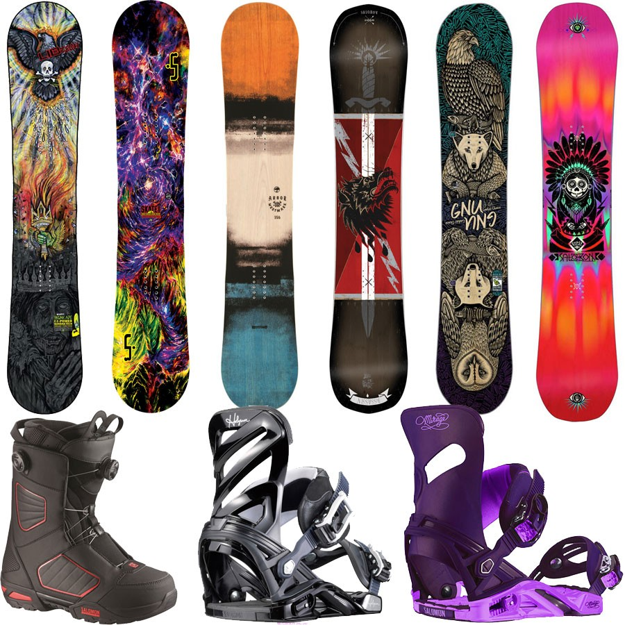 powder pursuits Demo Board Boot Binding Snowboard Package